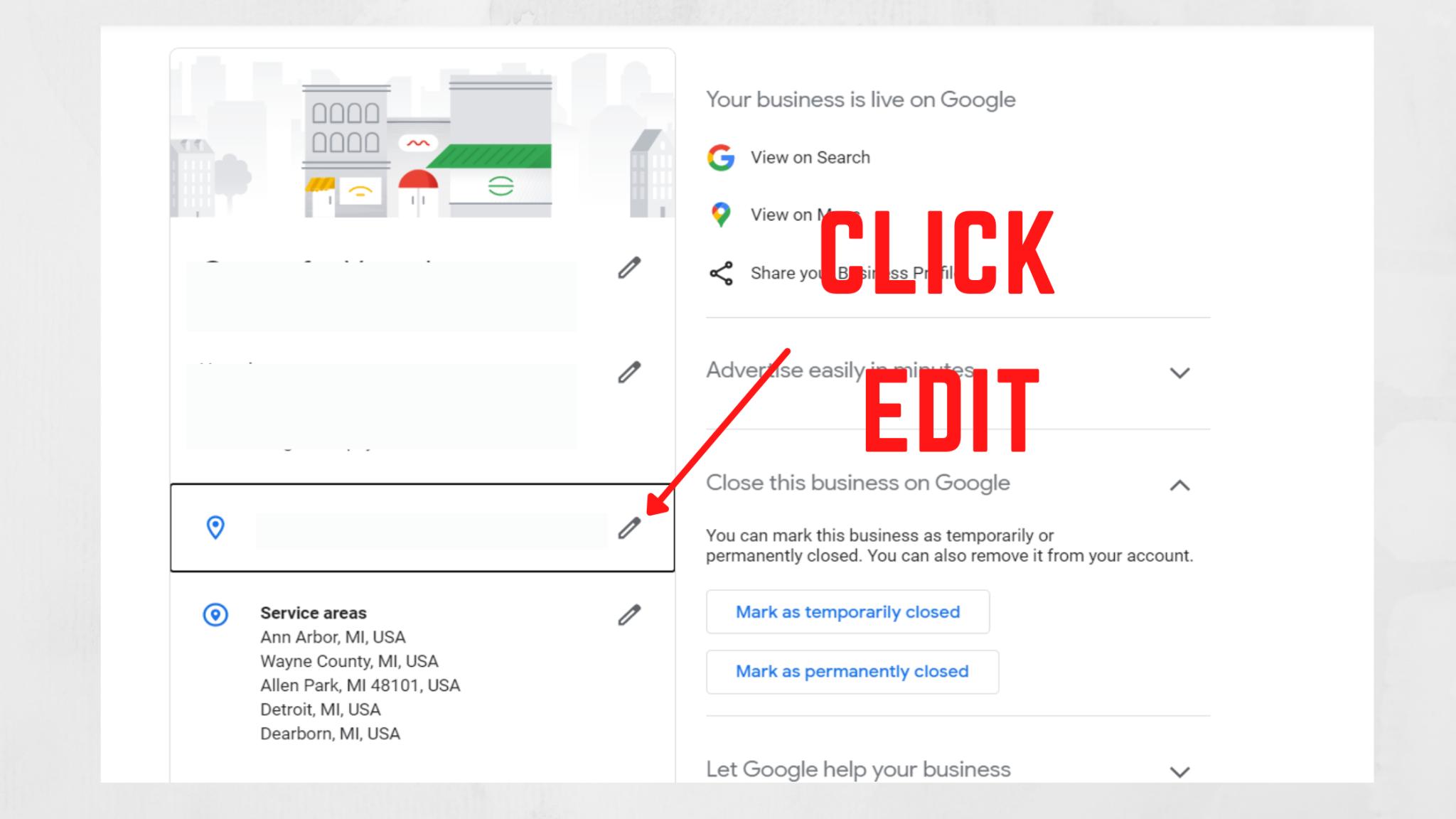 Google My Business Edit Location Area