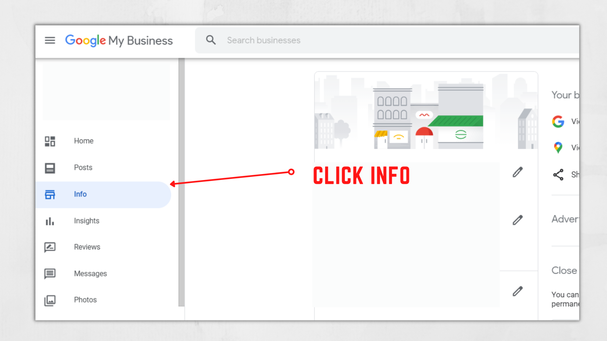GMB Dashboard Info Area