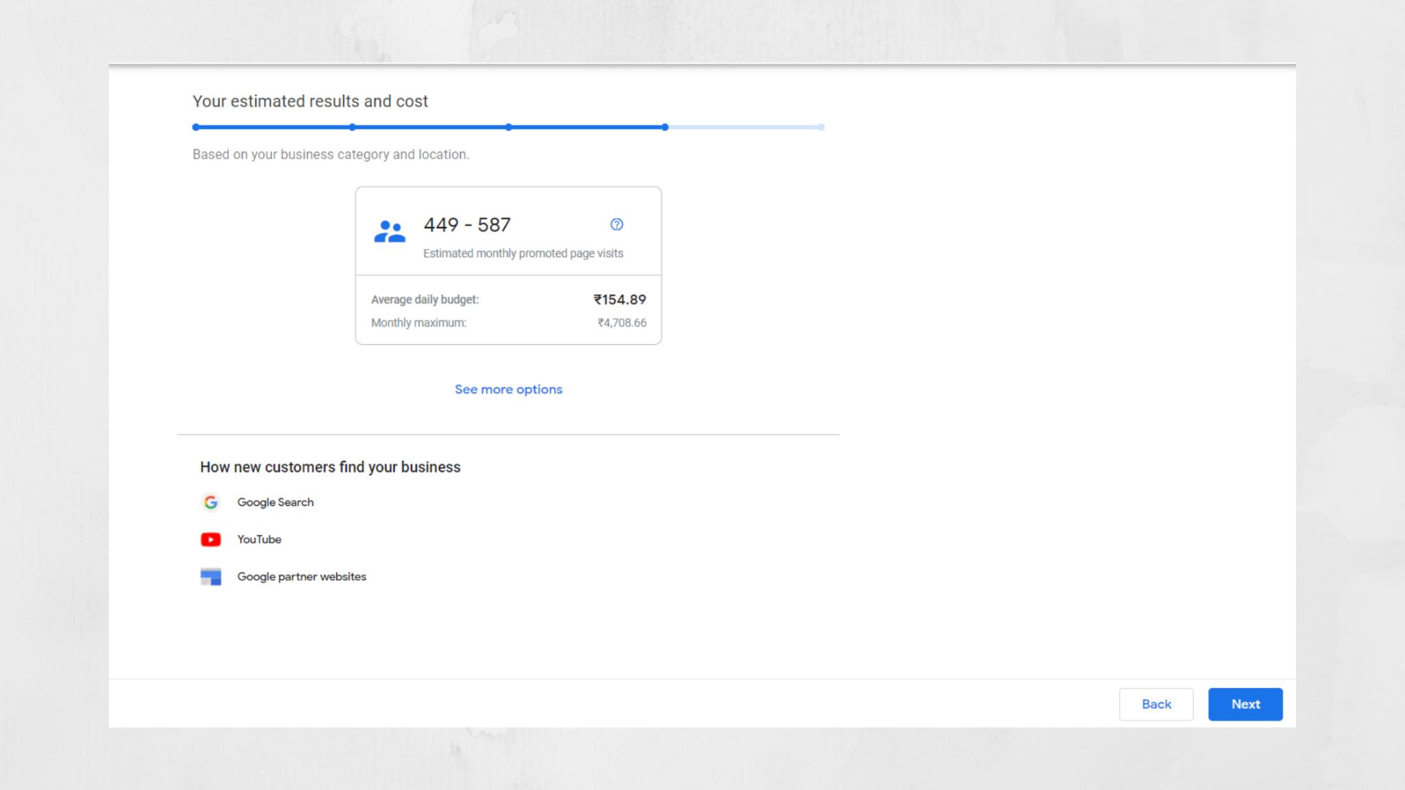 ad cost estimates in gmb dashboard