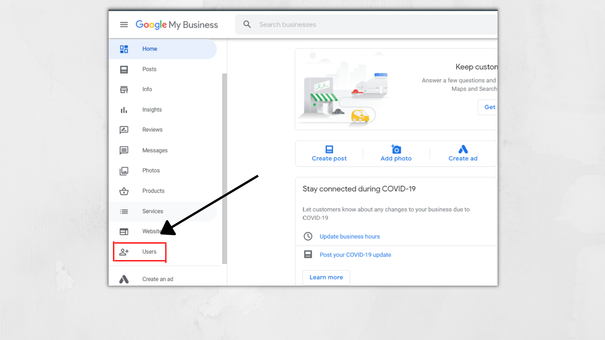 selecting user section to add owner in the google my business