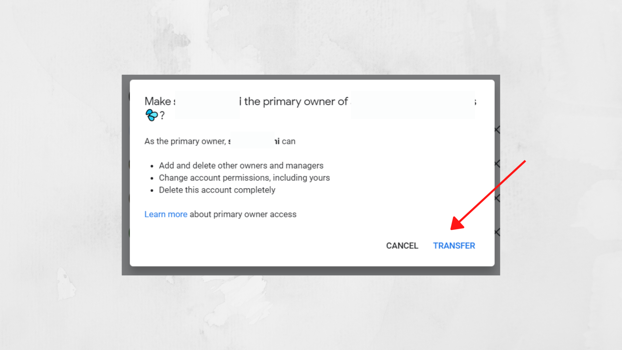 transfer ownership button after adding the user