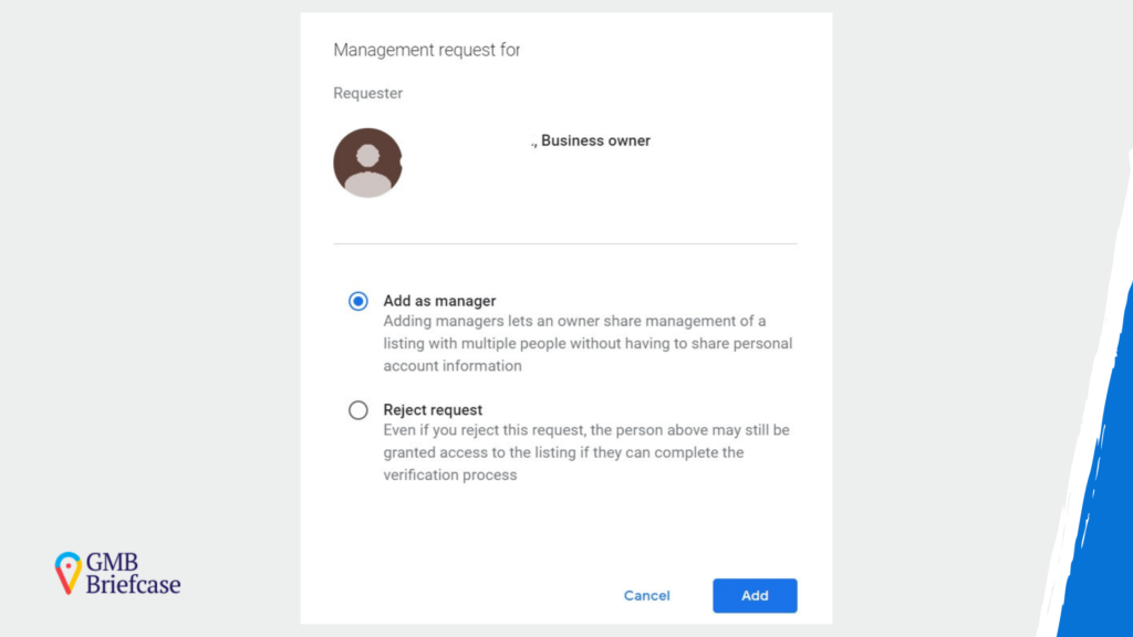option to accept ownership of google my business